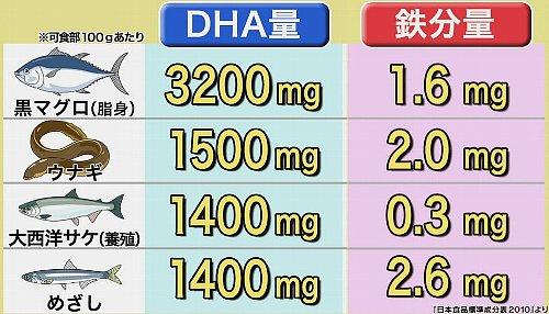 食べ物魚のDHAと鉄分量